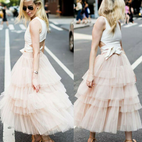 2019 Women Princess Tutu Skirt Petticoat Tulle Long Layered Skirt Sundress Skirts Casual Evening Party Skirt