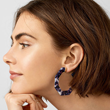 2019 New Exaggerated Acetate Acrylic Earrings For Women Dark Blue Statement Large Geometry Polygon Big Stud Earring Jewelry