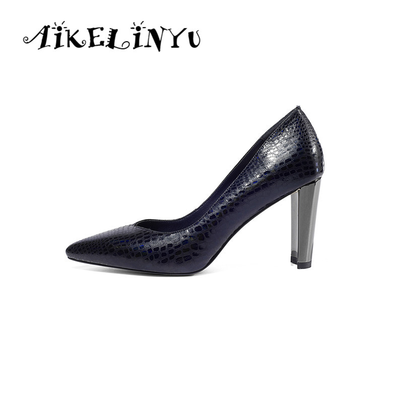 AIKELINYU Elegant Lady Pumps High Quality Genuine Leather Pointed Toe Shoes Stone Print Office Sexy Party Women
