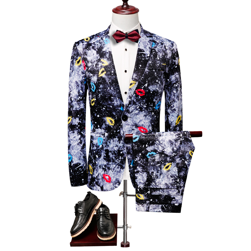 British Style Designs Lip Print Casual Terno Masculino Dress Suits 2pc Men Suit Fashion Slim Fit Coat Pant Blazer Set Clothing