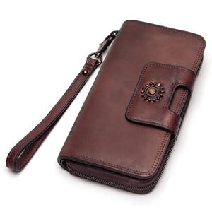 Image 2 - Ręcznie malowane portfel wielofunkcyjna duża pojemność górna warstwa skóry wołowej Vintage portfele damskie wysokiej jakości czysta skóra bydlęca skórzana portmonetka