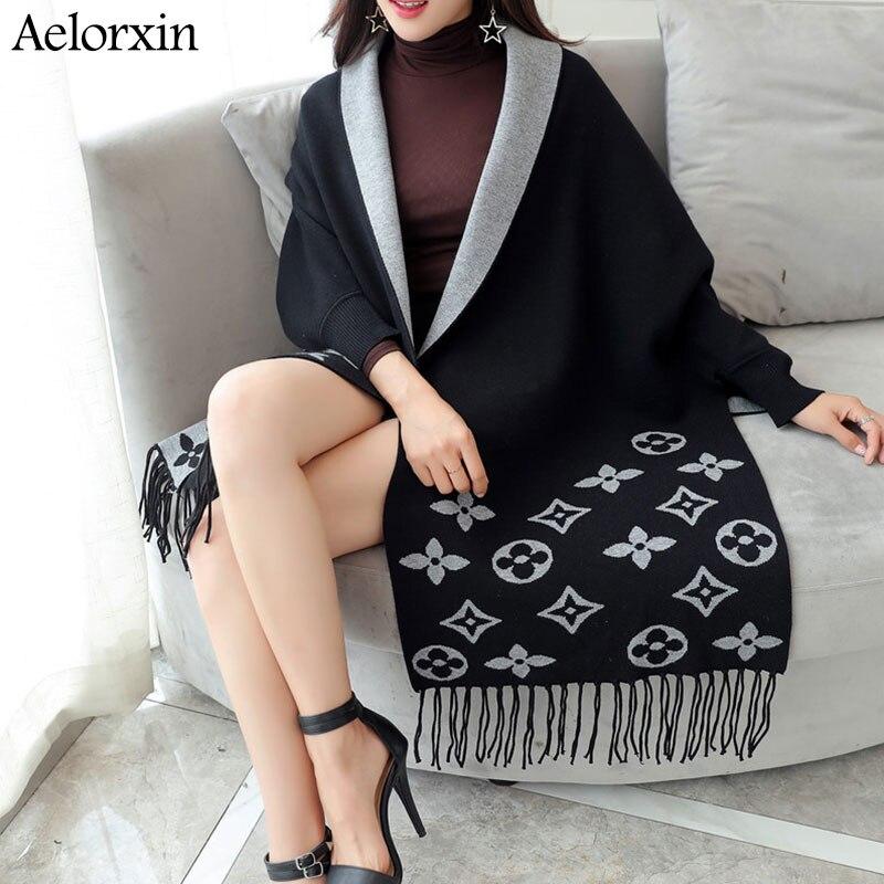 2019 Cardigan Winter Women's Elegant Tassel Wrap Swing Cardigan Knitted Oversized Sweater Scarf Women's Sweater Blouse Plus Size