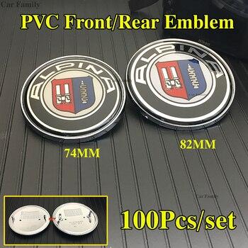 Wholesale 100pcs Car Front Bonnet Stickers Badge Expoy Auto Trunk Emblem Caps For Bmw Car Series 74mm 82mm PVC Chrome Base label