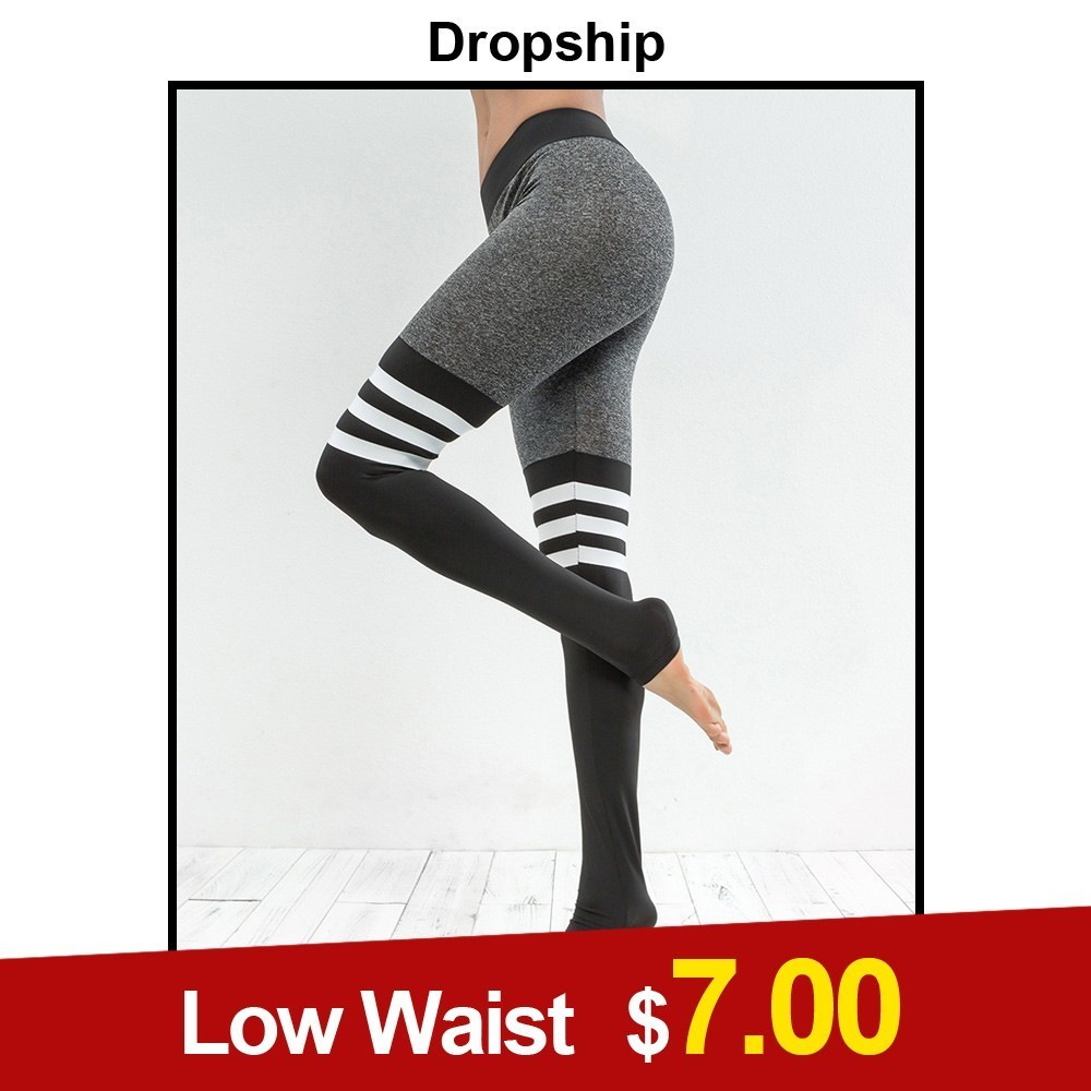 Dropship Leggings Womens Low Waist Health Warmth Promote Autumn Exercise Black Elastic Slim Sport Patchwork Pants 2018 For Clothes