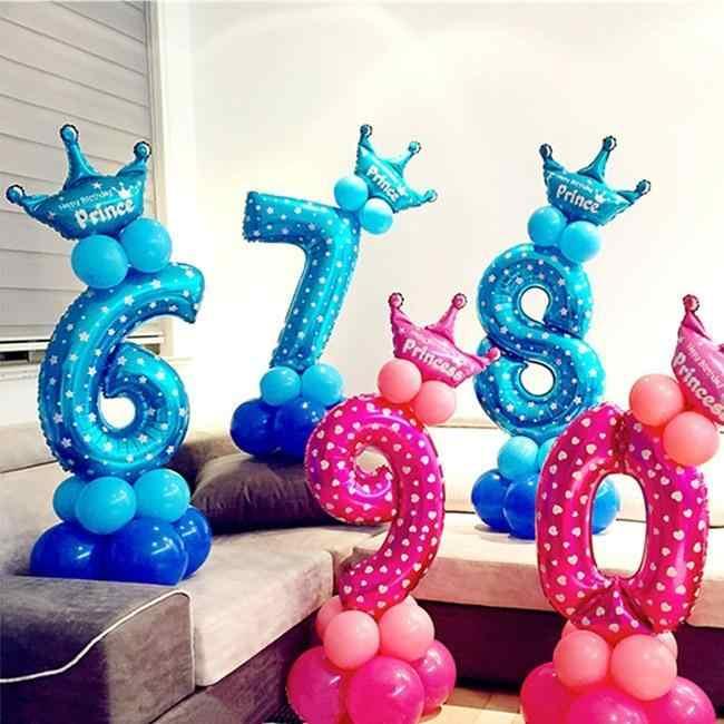 Doce cor de rosa azul 16 polegada 0-9 digital alumínio balão de festa de aniversário suprimentos decoração DIY