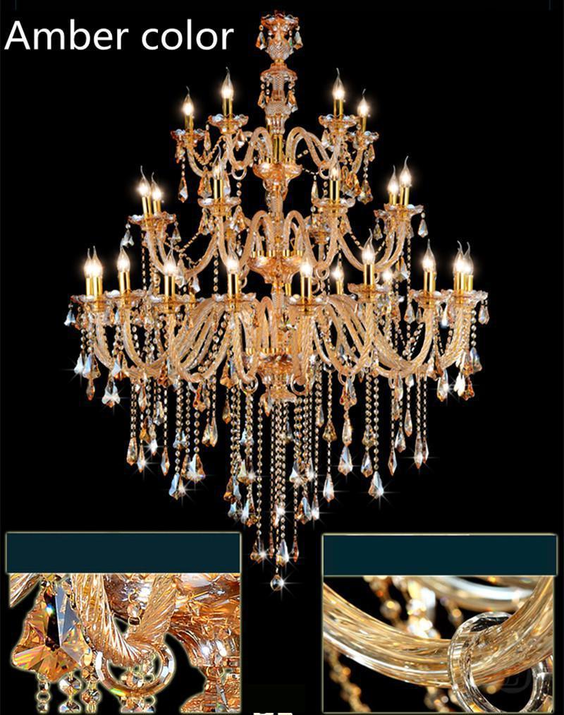 Art Decor Church Chandelier Lighting Large 3-layer Cognac Crystal Lamp 28-35 Pcs Vintage Hanging Lustre Villa Hotel Chandelier Choice Materials Lights & Lighting