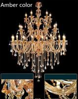 Art decor Church Chandelier Lighting Large 3 layer cognac Crystal Lamp 28 35 Pcs Vintage Hanging Lustre Villa Hotel Chandelier