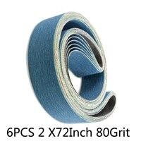 6pcs 2x72 Inch 80 Grit Metal Grinding Zirconia Sanding Belts Abrasive Band