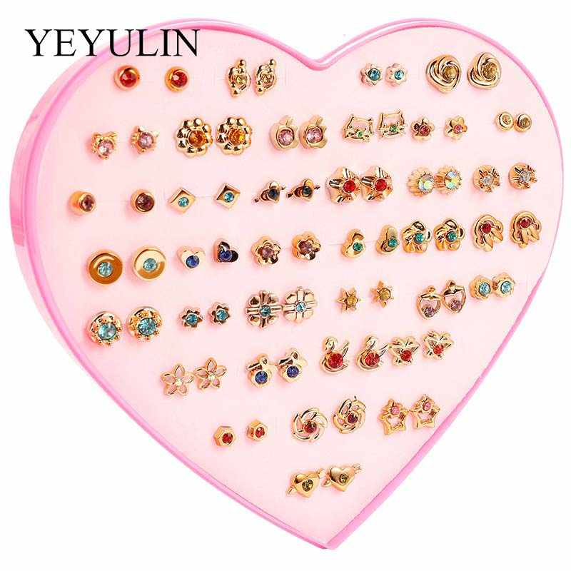 36Pairs/lot Gold Silver Women Star Heart Flower Butterfly Small Colorful Crystal Stud Earrings Sets Girl Children Jewelry Gifts