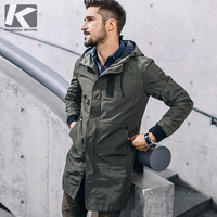 KUEGOU New Autumn Mens Hooded Trench Spliced Green Color Long Coats Clothing Man's Slim Overcoat Male Windbreaker Jackets 3137