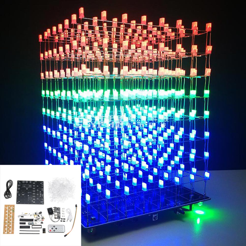 Accessories & Parts Leory 8x8x8 512 Led Diy 3d Led Light Cube Kit Wi-fi Connected App Control Music Spectrum Led Display Equipment Mp3 Dac Circuit