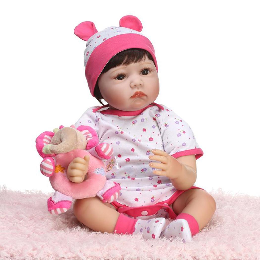 Kids Soft Silicone Realistic With Clothes Reborn Baby DollUnisex Opened Eyes 2 4Years Collectibles Gift Playmate Pink
