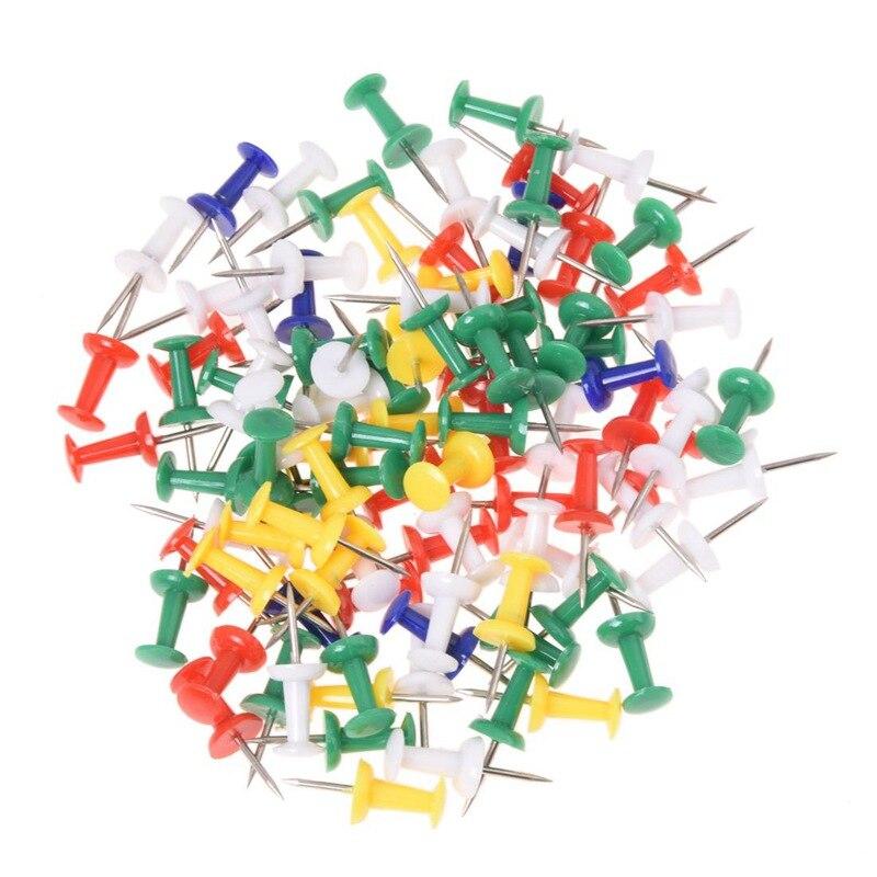 100pcs Colored Pushpins Metal Thumb Tacks Map Drawing Push Pins Crafts Office Accessories School Supplies Stationery