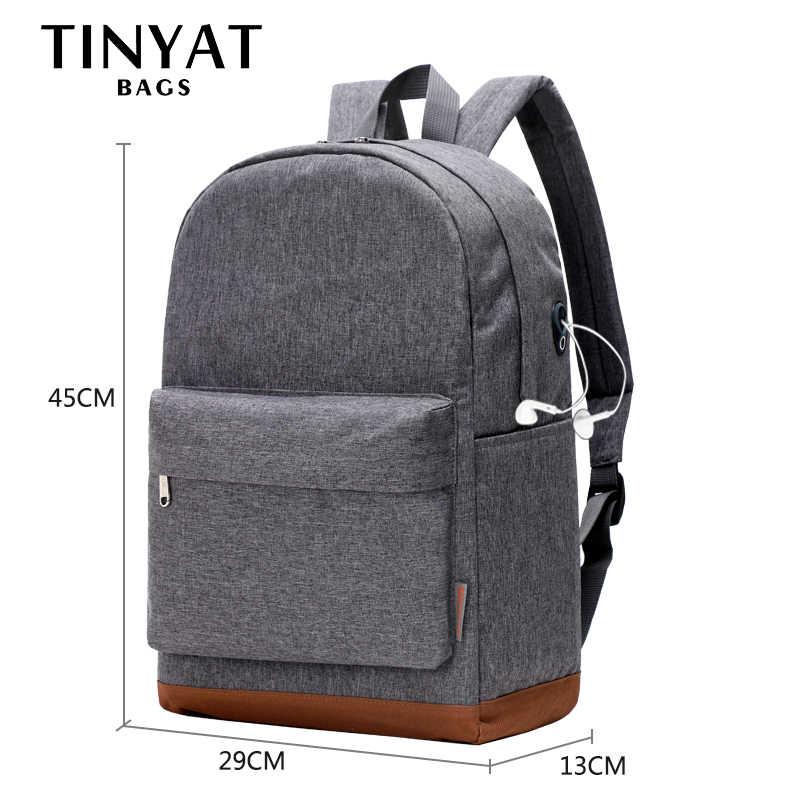 Tinats mochila escolar para adolescentes, bolsa grande para laptop de 15 polegadas com carregador usb para lazer, viagem, cinza