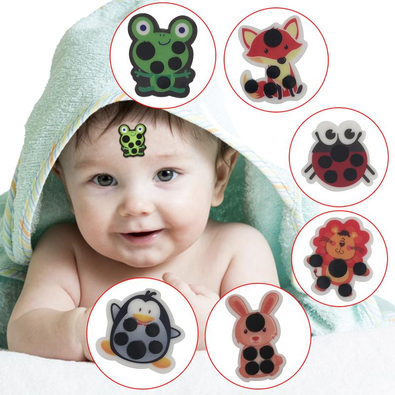 6 PCSCartoon Sticker LCD Forehead Thermometers Body Fever Thermometers Head Bands Children Safety Baby Care Thermometer