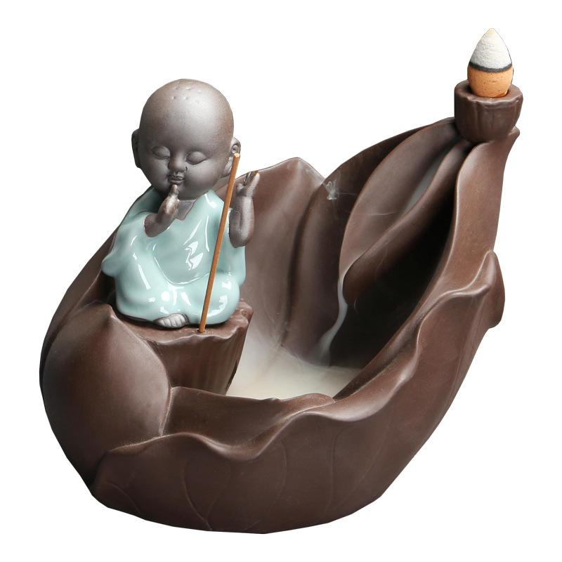 Little Monk Backflow Incense Burner Ceramic Small Buddha Incense Stick Holder Smoke Waterfall Incense Censer Aroma Therapy Home in Incense Incense Burners from Home Garden