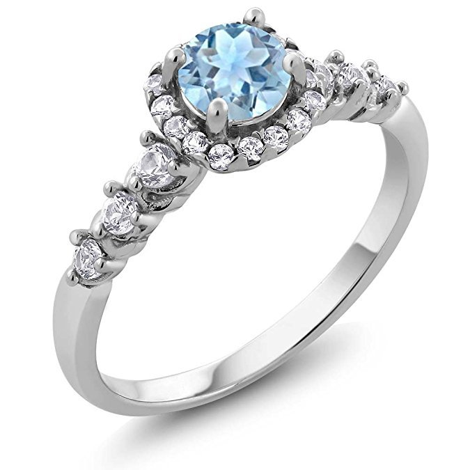 Blue Zircon Wedding Ring for Women Micro-inlaid Simulation Drill Simple Jewelry Ring Engagement Ring