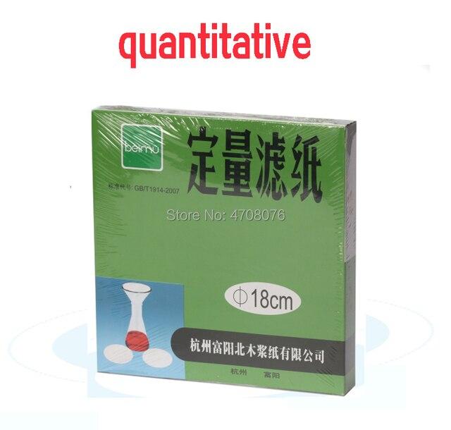 Dia 18cm 100 unids/caja papel de filtro de laboratorio redondo papel de filtro cuantitativo para embudo con rápido/Medio/lento velocidad 1 box/pack