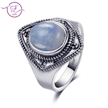 купить S925 sterling silver jewelry ring 8X10 oval retro texture natural moonstone ring men's and women's gifts wholesale по цене 503.46 рублей