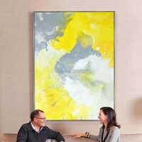 Grande taille nouveau fait à la main moderne peinture à l'huile abstraite sur toile pour chambre mur décor jaune et blanc mur photo peinture à l'huile