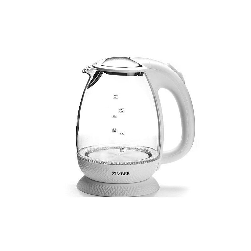 лучшая цена Чайник электрический ZIMBER, 1,7 л, 2200W, белый, подсветка