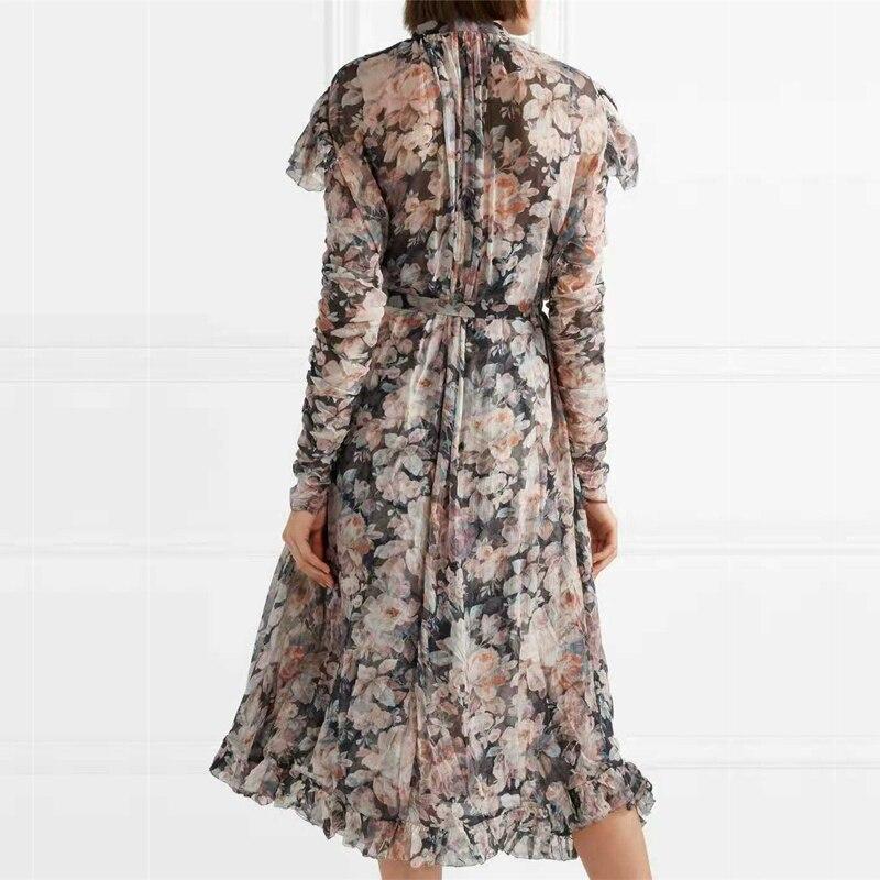 Luxe Bandage Arrivée Qualité Haute De Piste Nouvelle Robe Imprimé Floral Designer Automne Femme Marque Zim 2018 Black Élégante Sf5qZxw