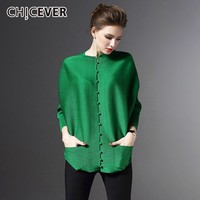 CHICEVER Womens Tops And Blouses O Neck Batwing Sleeve Loose Oversize Pleated Blouse Women's Shirts Fashion Casual Clothes New