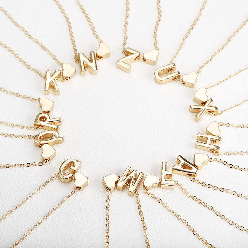 Gold Initial Name Necklace Women Gold Letter Necklaces Heart Pendant Necklace Chain Chokers Necklace For girl best birthday gift