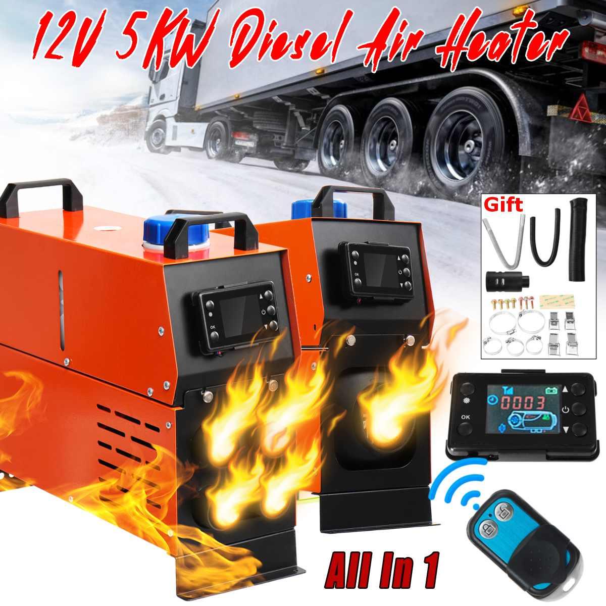 1/4 trous Diesel-Air réchauffeur 12 V 5000 W réservoir unique télécommande Thermostat caravane camping-Car RV LCD moniteur pour camions voiture bateau