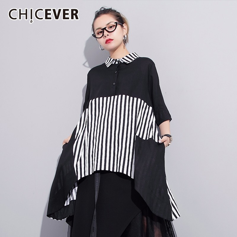 CHICEVER Patchwork Striped Women's Shirts Tops Female Blouse Half Sleeve Asymmetric Hem Blouses Women 2019 Spring Casual Clothes