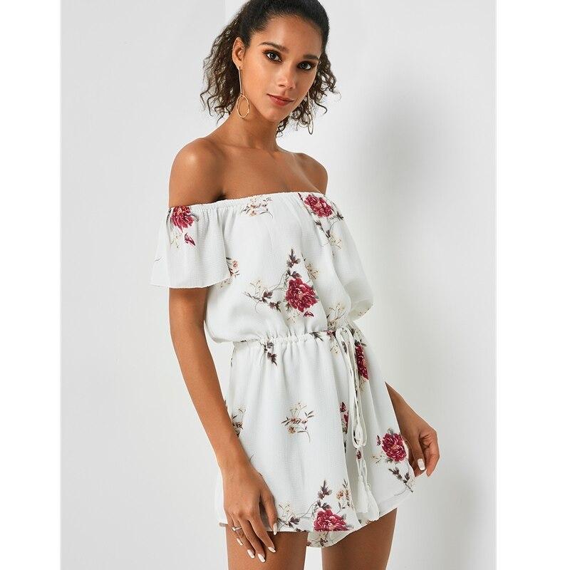 Beach Playsuit Rompers Short-Pants Drawstring White Off-Shoulder Summer Fashion Women