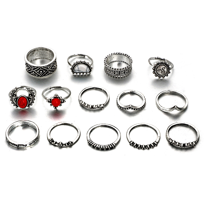 14 Pcs Set Vintage Silver Color Moon And Sun Ring Set For Women Natural Stone Knuckle Rings Gift in Rings from Jewelry Accessories