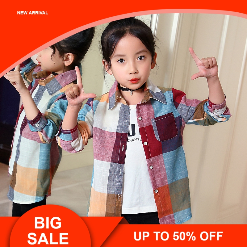 Mutter & Kinder Blusen & Hemden Mädchen Plaid Shirts Hohe 100% Baumwolle Kinder Bottons Kleidung Herbst Volle Länge Tragen Für Kinder Mädchen Shirts Kataloge Werden Auf Anfrage Verschickt