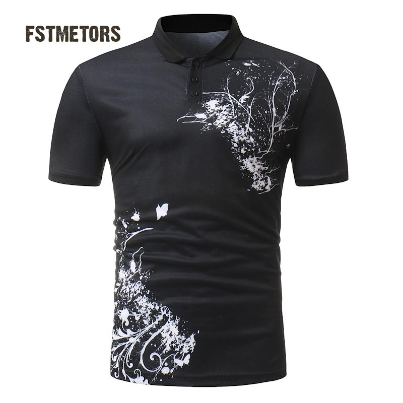 2018 Men's   Polo   Shirt Fashion Casual Color Print Men's Slim Personality Short Sleeve Sports   POLO   Shirt