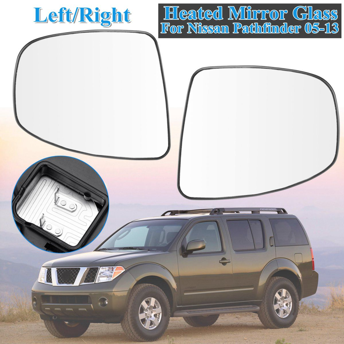 Left Passenger side Wide Angle wing mirror glass for Jeep Compass 2017-2018