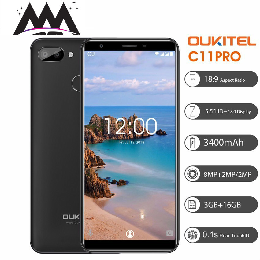 """Oukitel C11 Pro 4G Smartphone 5.5"""" Android 8.1 18:9 MTK6739 Quad Core Cell Phones 3G RAM 16G ROM 8MP 3400mAh Mobile Phone"""