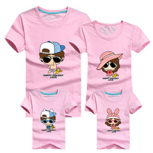 1 Piece Family Look Cartoon T Shirts Tees 2018 Family Matching Outfits Mother Daughter Son Father Short Sleeve Cotton T-Shirt