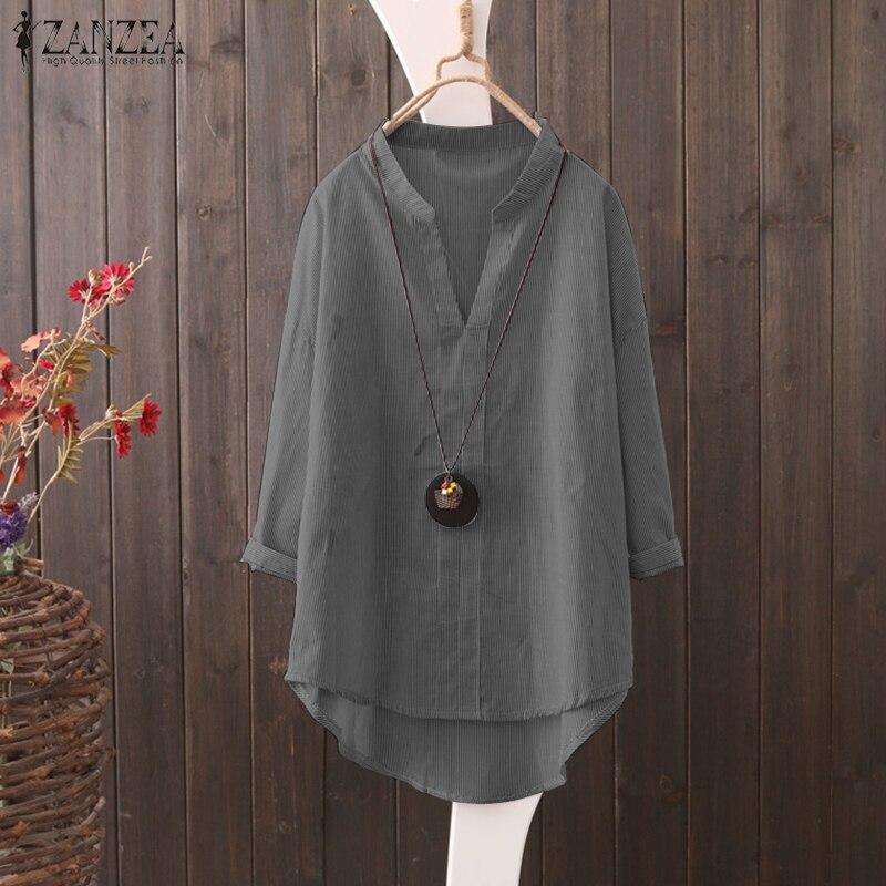 Top Blusas ZANZEA 2018 Autumn Women Striped Long Sleeve Blouse Female Casual V Neck Shirt Lady Asymmetrical Hem Blouse Plus Size