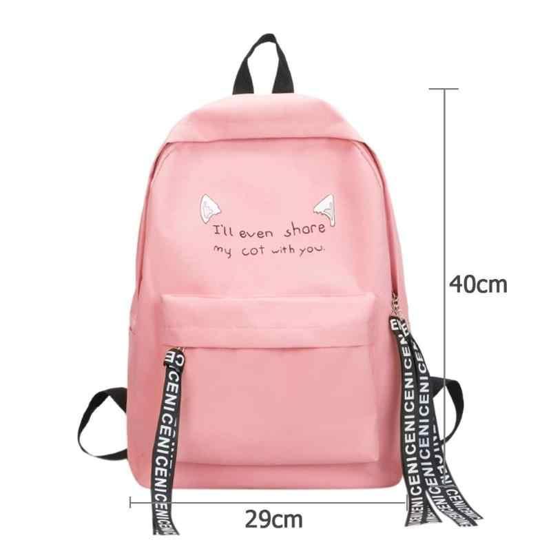 Estilo Preppy Ombro Menina Dos Desenhos Animados Impresso Bagpack Estudante Adolescente Escola Mochila Mulheres Mochilas de Viagem Mochila De Nylon Casuais
