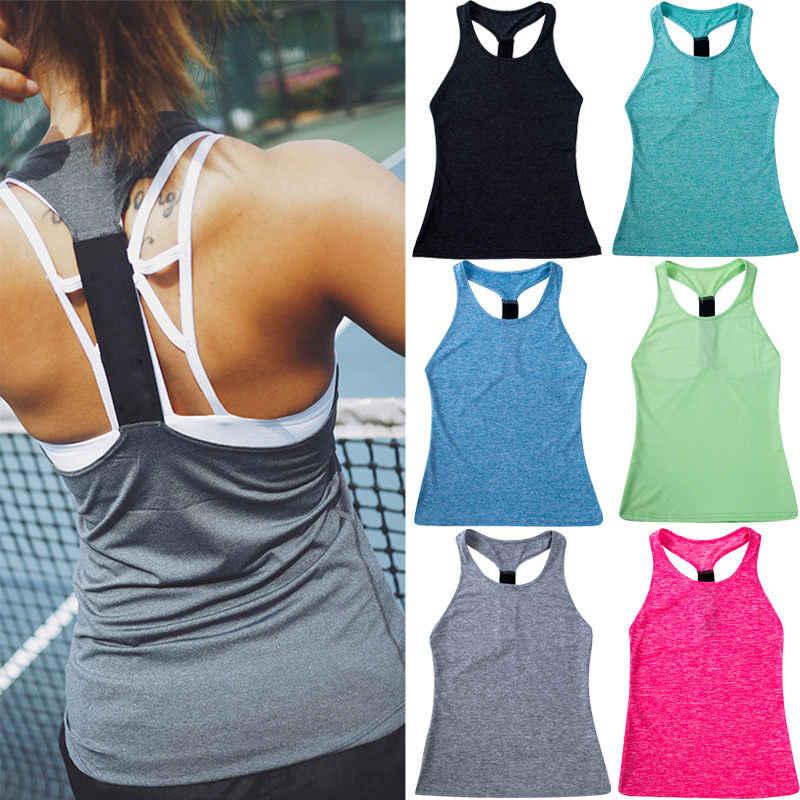 1483c828a 2019 Women Sports Tank Top Yoga Shirts Racerback Sleeveless Fitness Gym  Singlet Vest Running Workout Sportswear