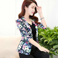 2019 Spring Autumn Fashion Floral Print Blazer Women OL Notched Workwear Blazer Coat Single Button Three Quarter Ladies Outwears