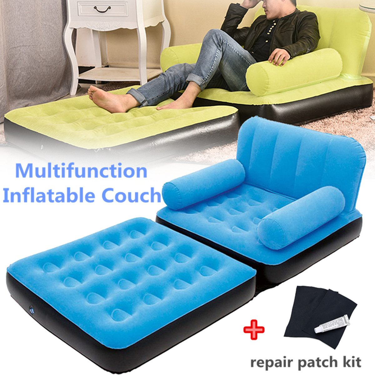 Retro Inflatable Sofa Inflatable Furniture Chair Sofa Sleeping Bag Air Sofa Beach Bed