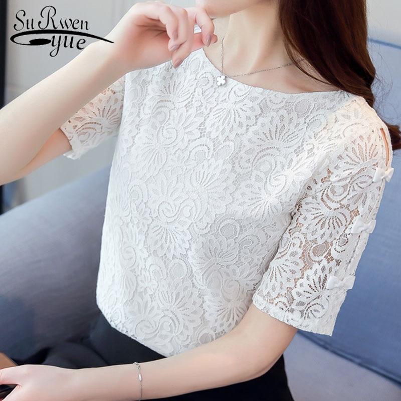 New 2018 Summer Solid Lace Fashion Women   Blouses     Shirts   Chiffon Elegant White Light Blue Short Sleeve Female Tops Blusas 0361 40