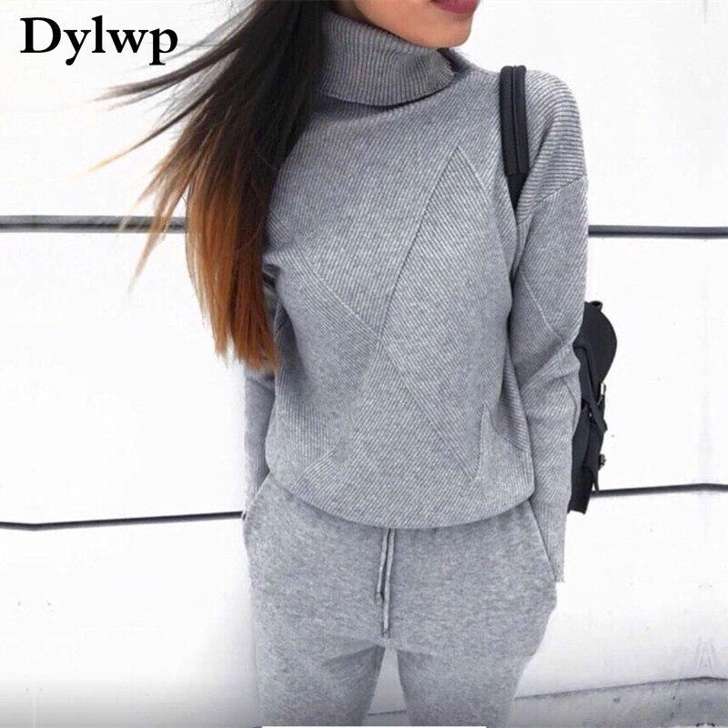 Automne hiver tricoté survêtement femmes deux pièces ensemble pull à col roulé et tricot pantalon décontracté 2 pièces ensemble survêtement femmes vêtements