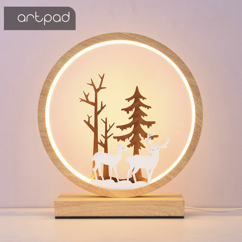 Nordic Wooden Color Deer Table Lamp 3 lights changeable Remote Control Night Light Round Ring Shape Bedside Lights with Plug