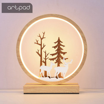 creative nordic christmas deer the merry go round dandelion moon lamp milky way a night light Nordic Wooden Color Deer Table Lamp 3 lights changeable Remote Control Night Light Round Ring Shape Bedside Lights with Plug