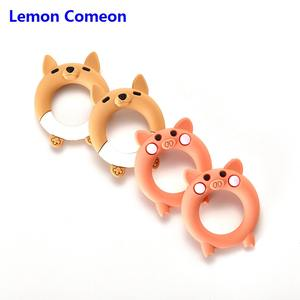 Lemon Comeon 1PC Cartoon Pig Fox Baby Silicone Teether Infant Teething Ring Bracelet Bangle Chew Charms BPA Free Necklace Toys