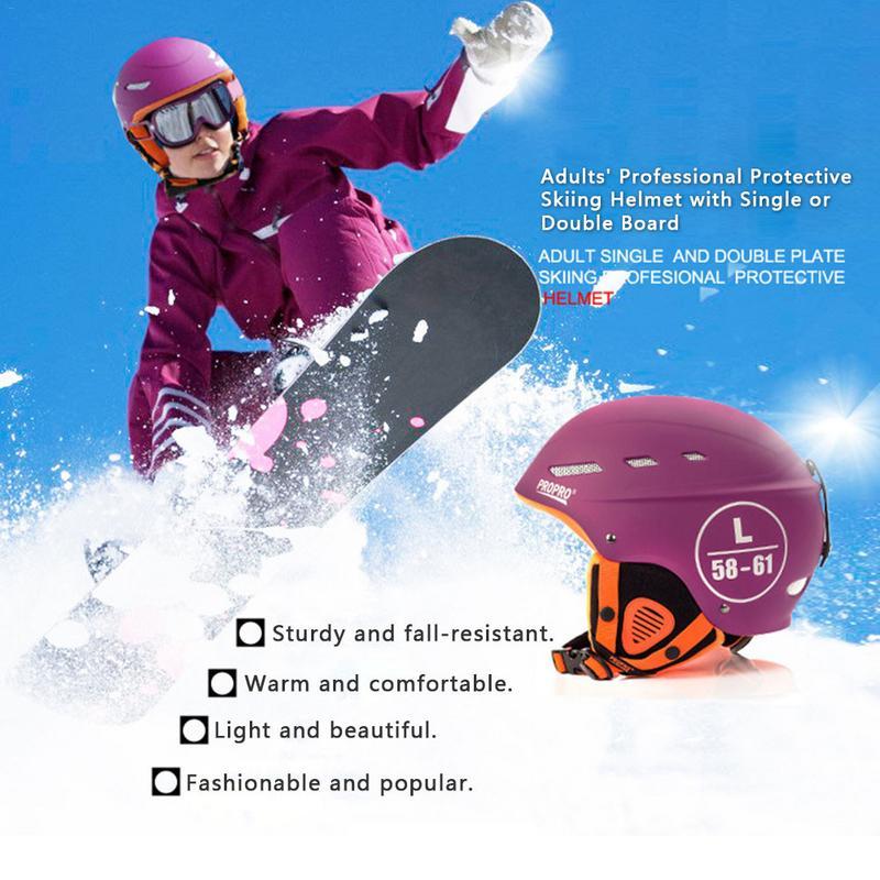 PR0PRO Nouveau Casque De Ski Hommes Et Femmes Adultes Léger Double Placages Casque Ski Sport De Protection Outil Équipement Casque De Ski