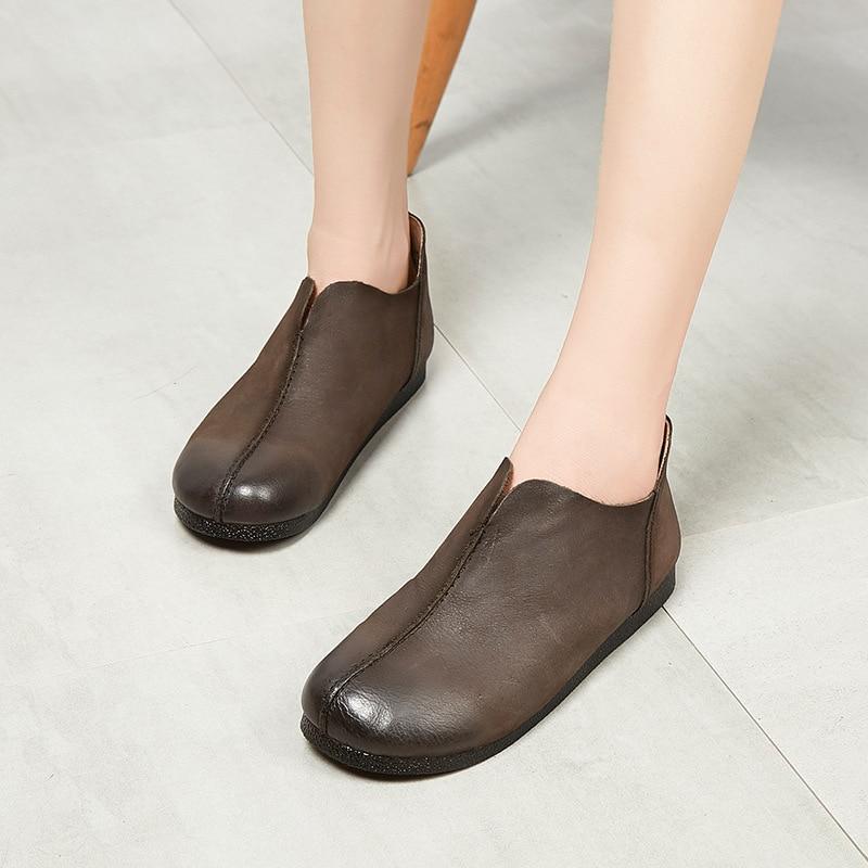 caramel Cabeza Mujer Colour De Mocasines Planos Cómodos Zapatos Vintage Ocasionales Redonda Genuino Cuero Gray Mujeres Las Txw6vq1