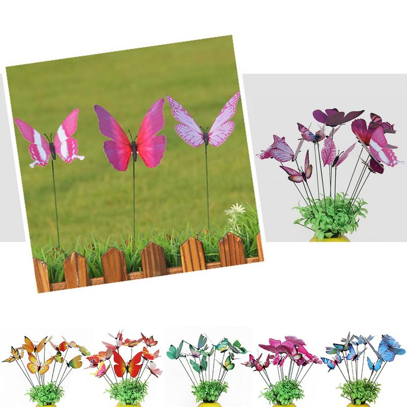 12pcs Colorful Simulation Butterfly Rod Flowerpot Yard Bonsai Ornaments Flowerpot Garden Decoration Fake Artificial Butterfly